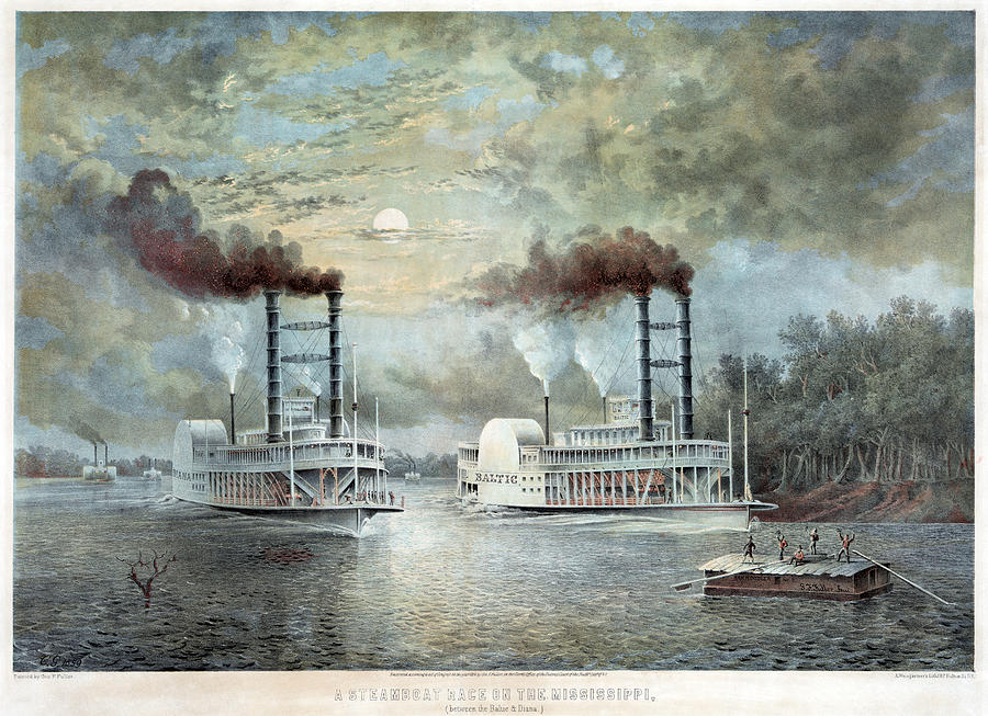 1859 Painting - Mississippi River Race, C1859 by Granger