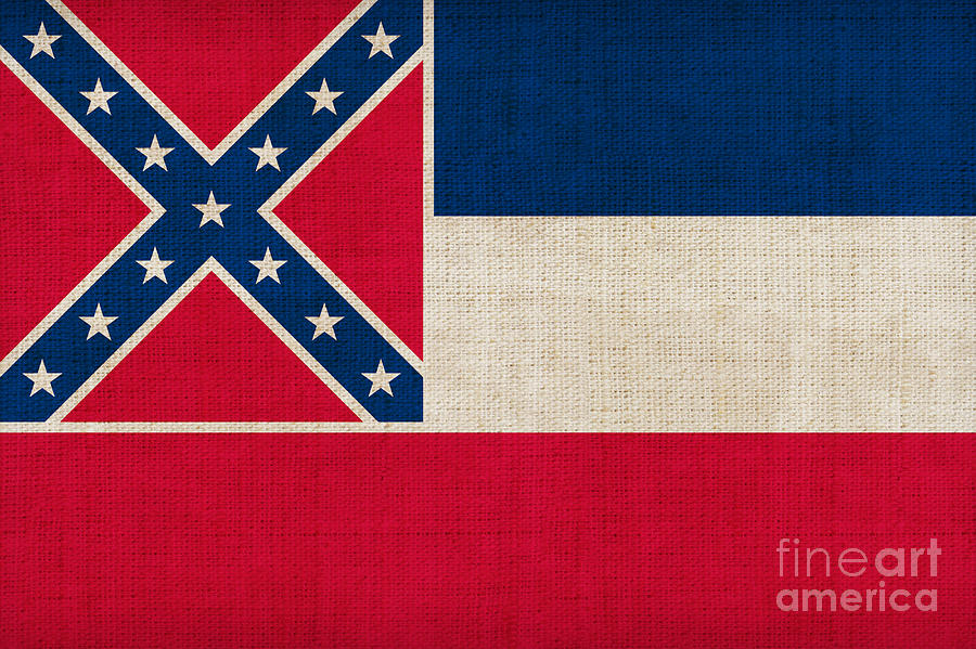 Mississippi Painting - Mississippi State Flag by Pixel Chimp
