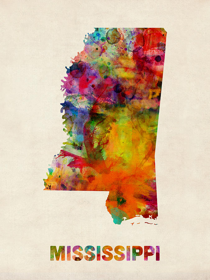 Mississippi Watercolor Map Digital Art By Michael Tompsett - Watercolor us map
