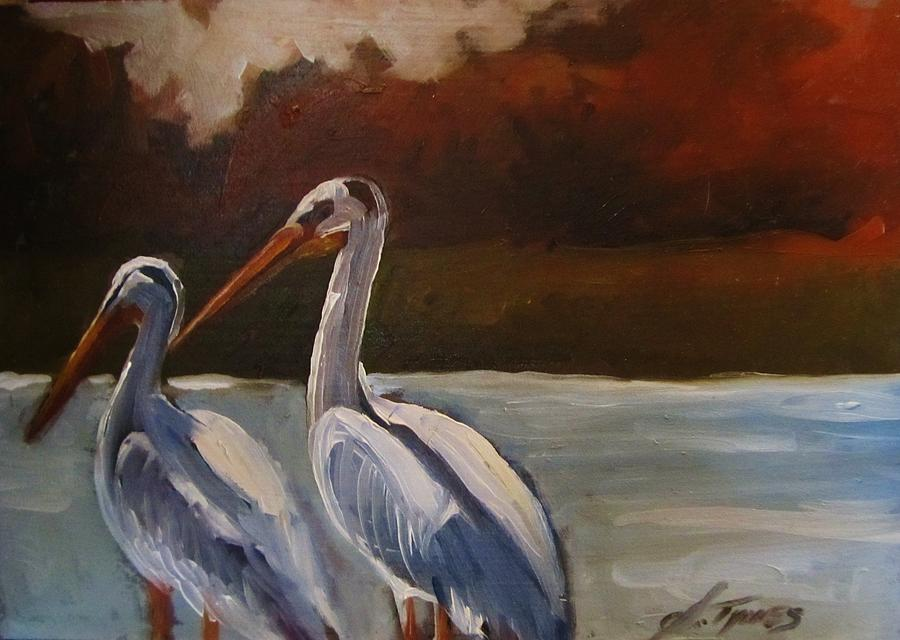 Birds Painting - Missouri River Pelicans by Suzanne Tynes