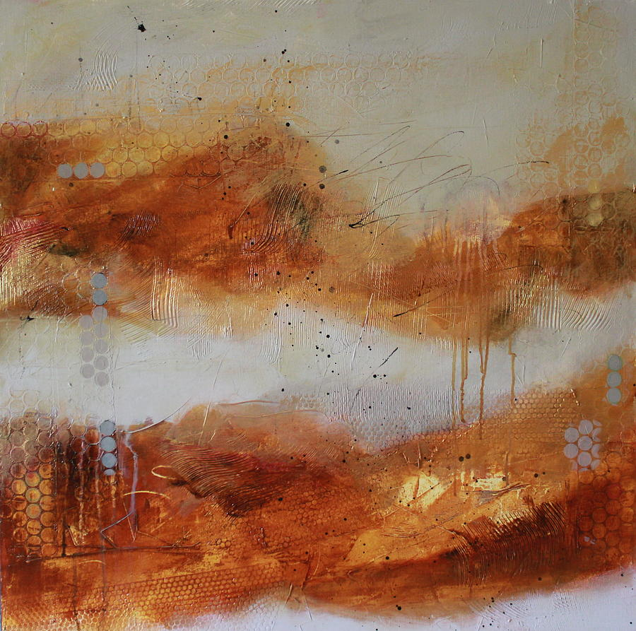 Abstract Yellow Painting - Mist #1 by Lauren Petit