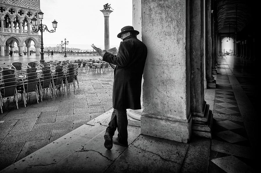 Street Photograph - Mister B. Still Reads Newspapers by Roswitha Schleicher-schwarz