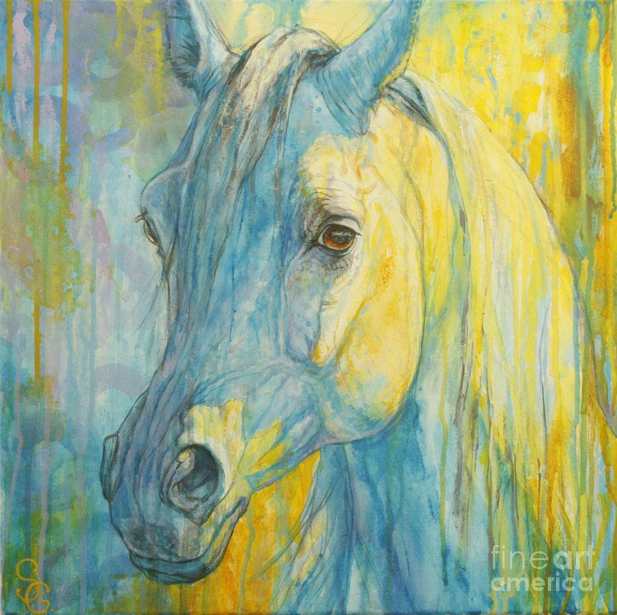 Horse Painting - Misterious Blues by Silvana Gabudean Dobre
