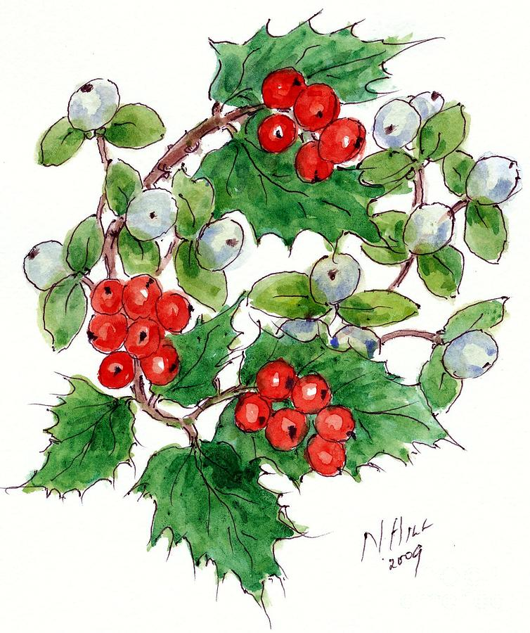 Berries Painting - Mistletoe And Holly Wreath by Nell Hill