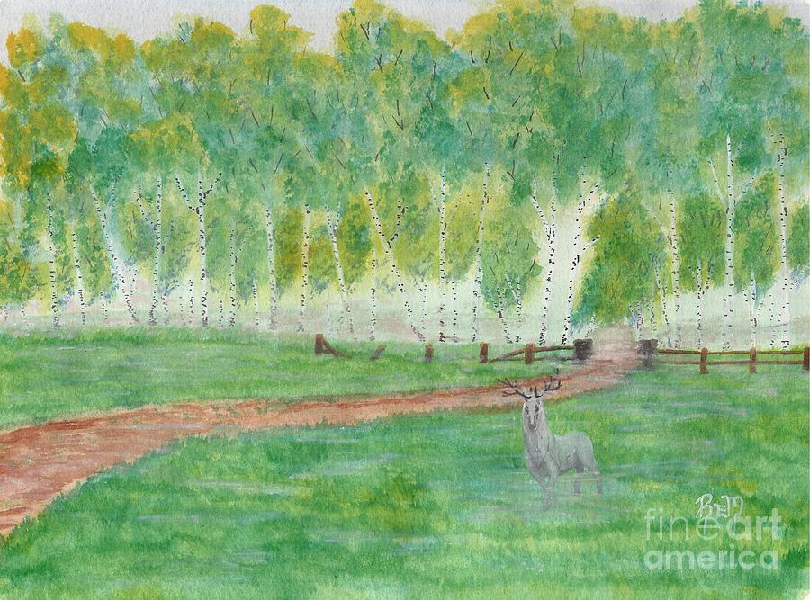 Landscape Painting - Mists Guardian by Robert Meszaros