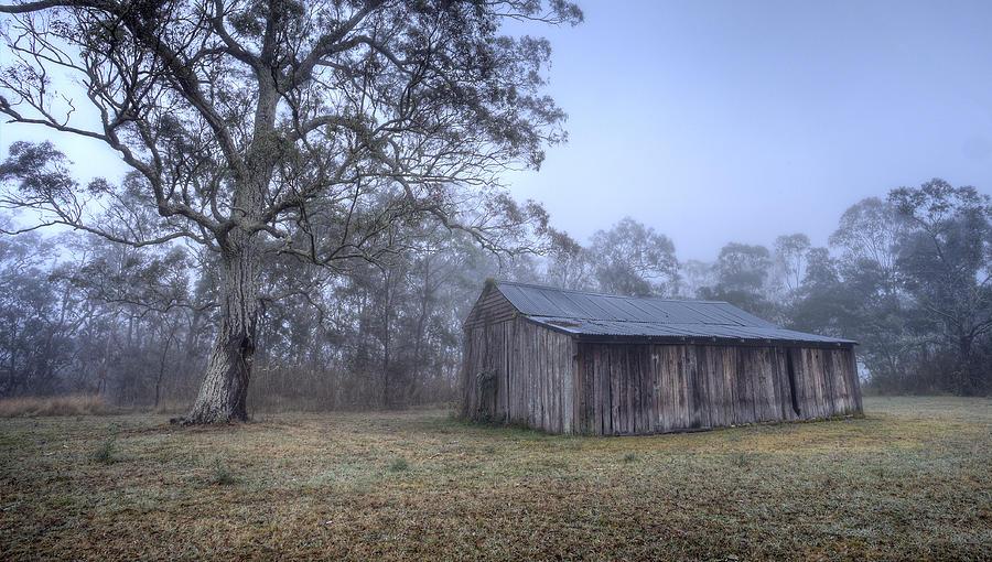 Mist Photograph - Misty Barn by Steve Caldwell
