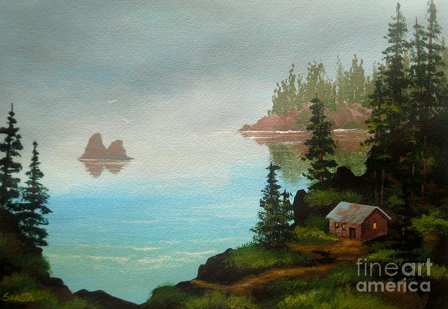 Featured Painting - Misty  Bay  by Shasta Eone