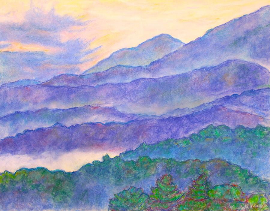 Mountains Painting - Misty Blue Ridge by Kendall Kessler