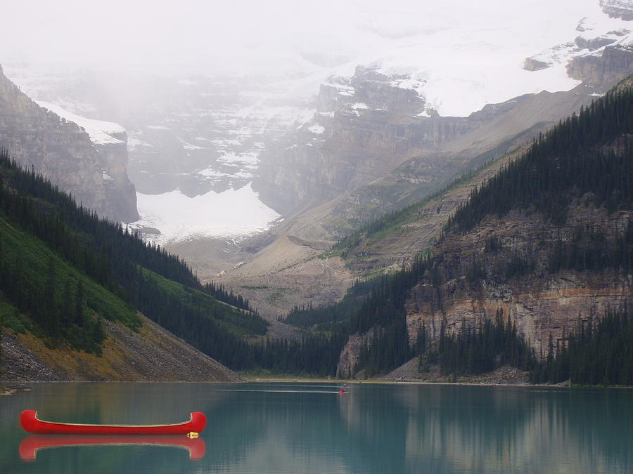Misty Victoria Glacier Canoe - Lake Louise, Alberta Canada Photograph