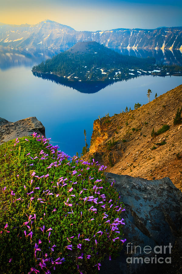 Misty Crater Lake Photograph