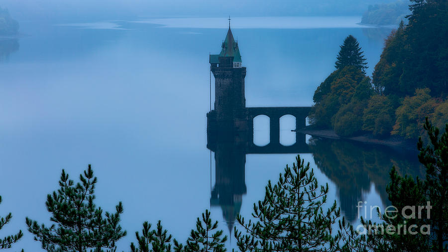 Mist Photograph - Misty Dawn And The Filter Tower by Pete Reynolds