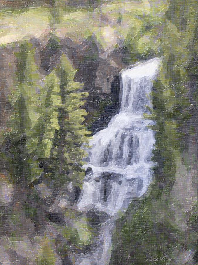 Falls Digital Art - Misty Falls by Jo-Anne Gazo-McKim