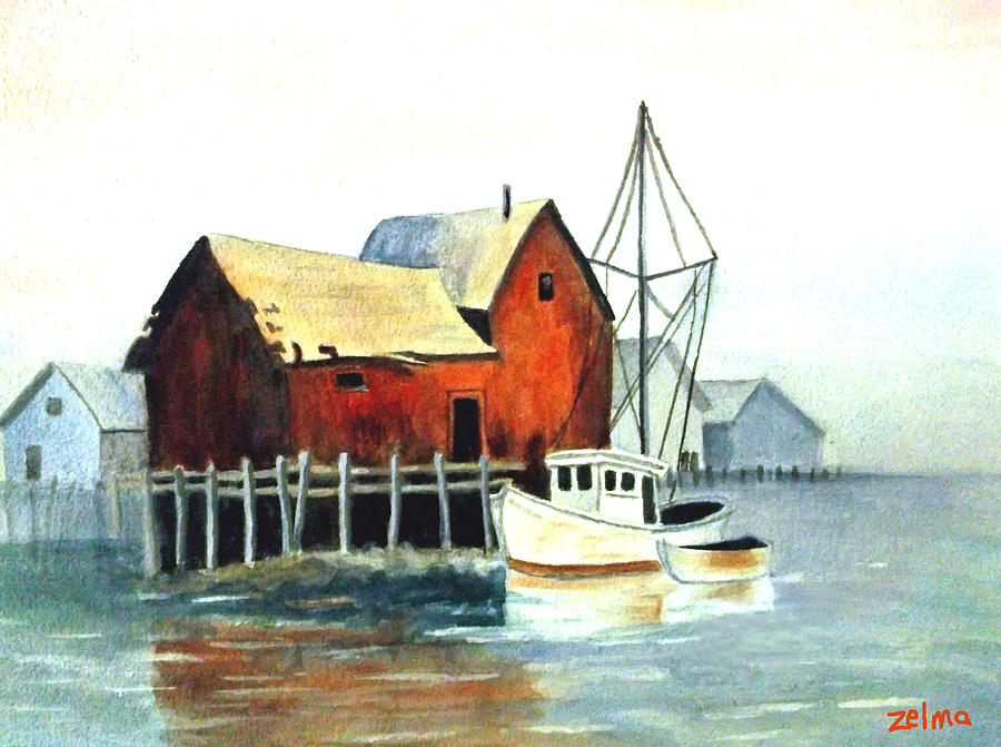 Harbor Painting - Misty Harbor by Zelma Hensel