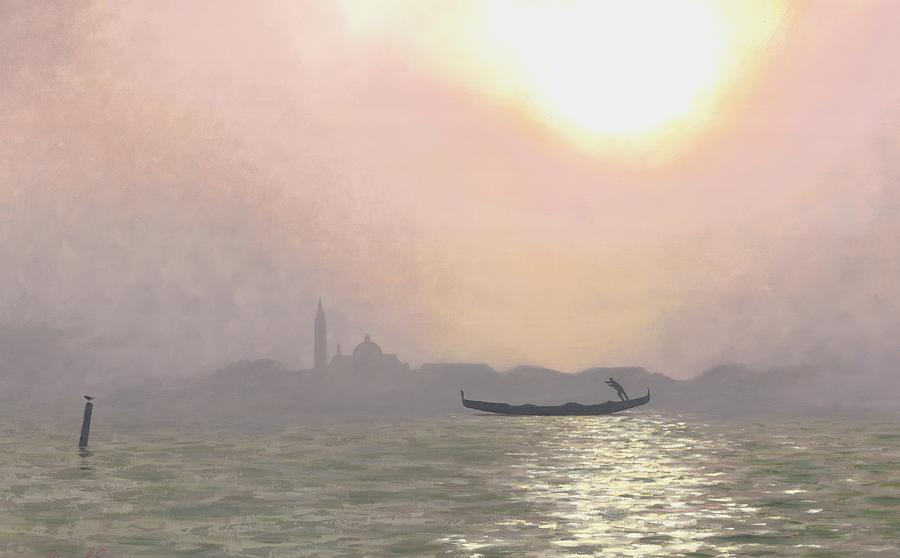 Venice Sunset Painting - Misty Lagoona 34 X 47 by Michael Swanson