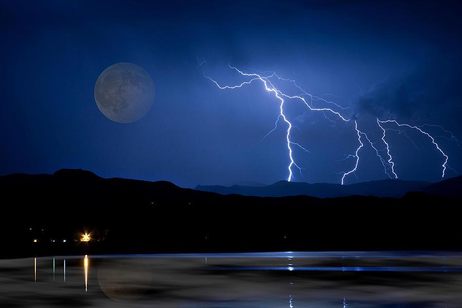Landscape Photograph - Misty Lake Full Moon Lightning Storm Fine art Photo by James BO Insogna