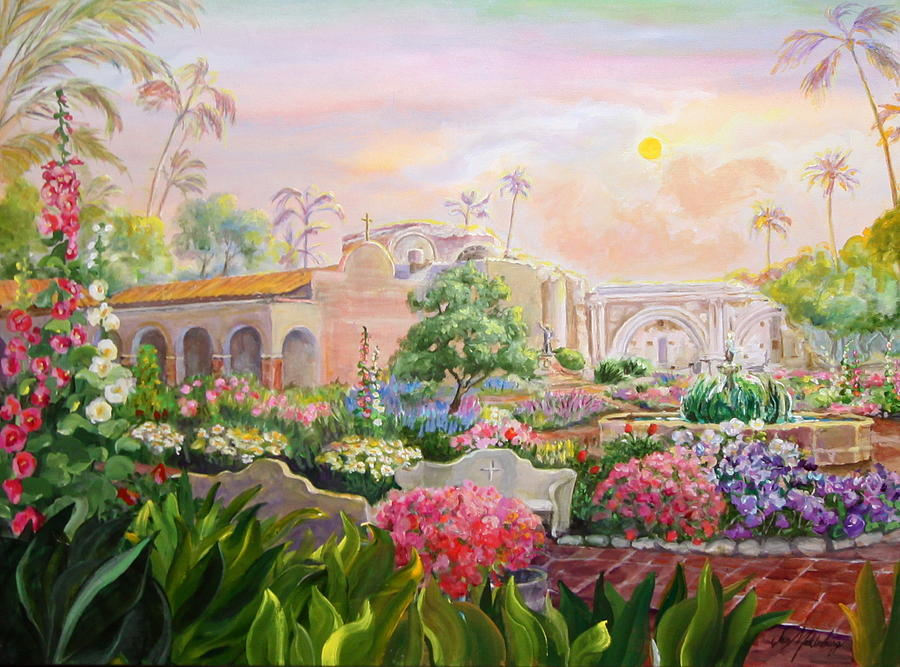 Misty Morning At Mission San Juan Capistrano  Painting by Jan Mecklenburg