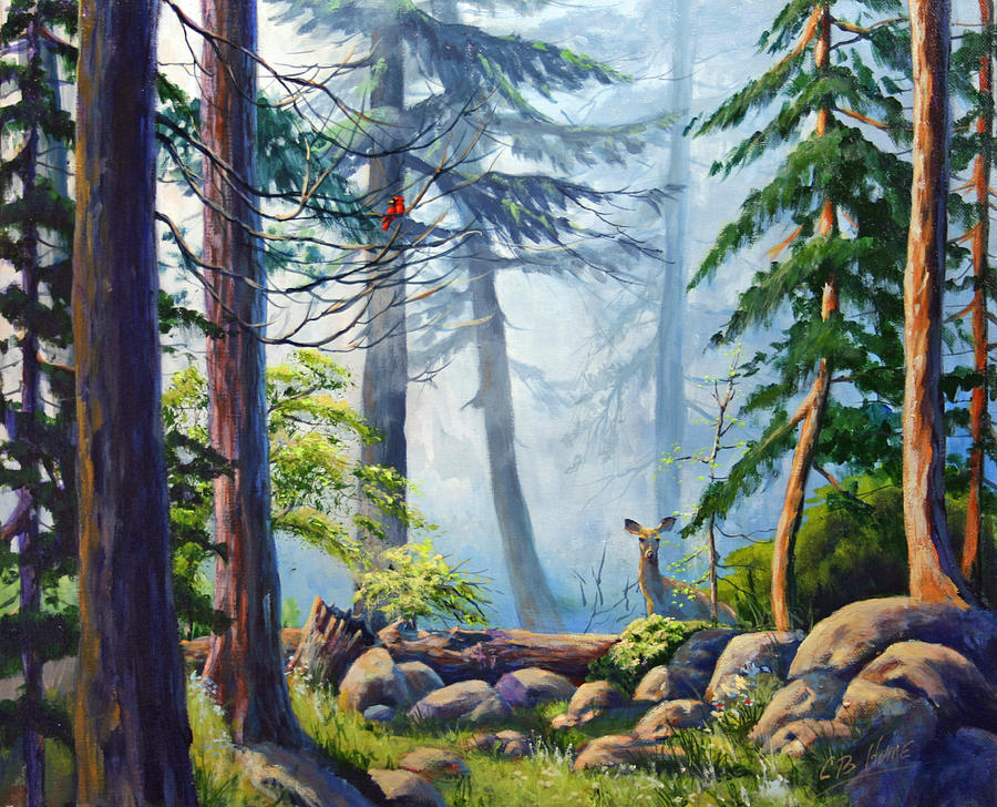 Forrest Painting - Misty Morning by CB Hume
