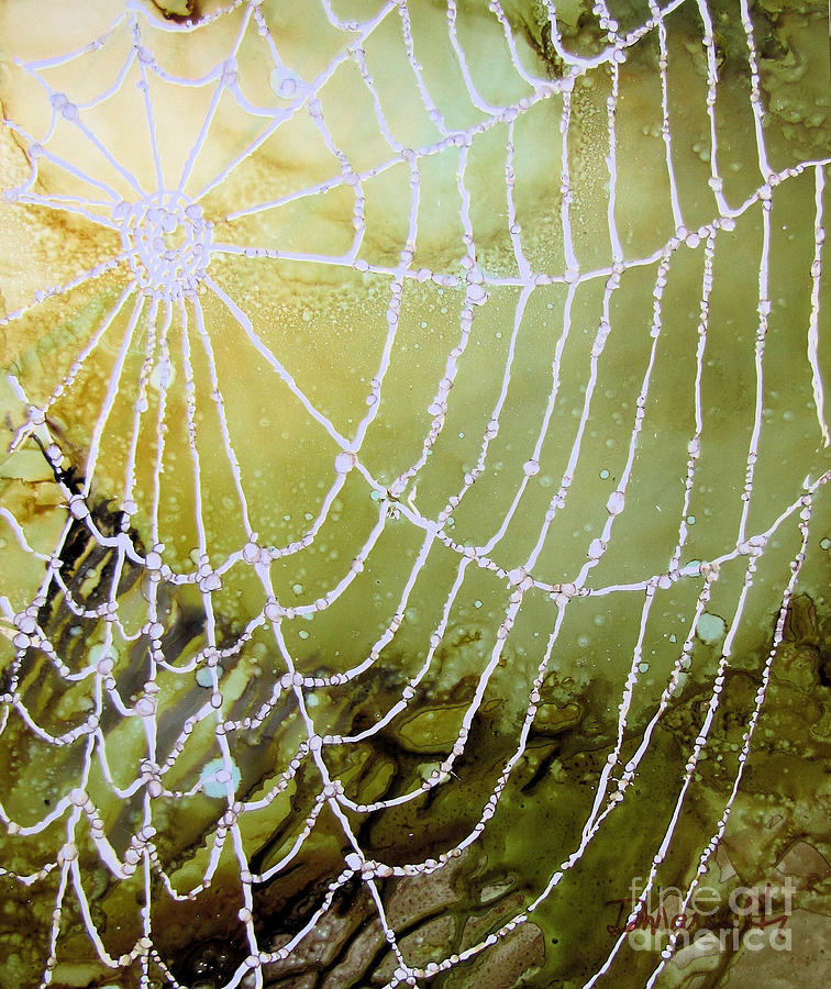 Spiderweb Painting - Misty Morning by Diane Marcotte
