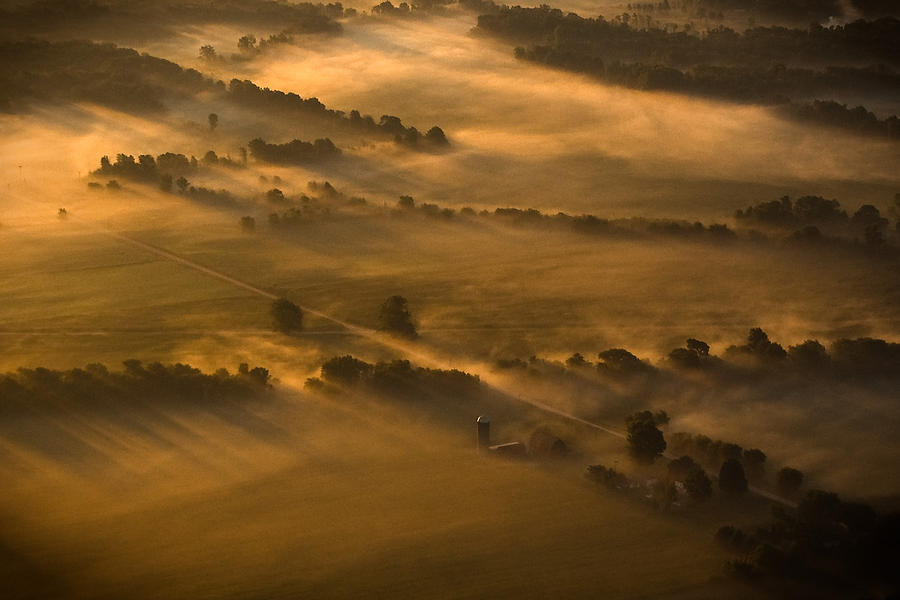 Misty Morning Farmland Photograph by Mike Lanzetta