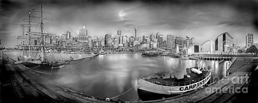 Misty Morning Harbour - Bw Photograph