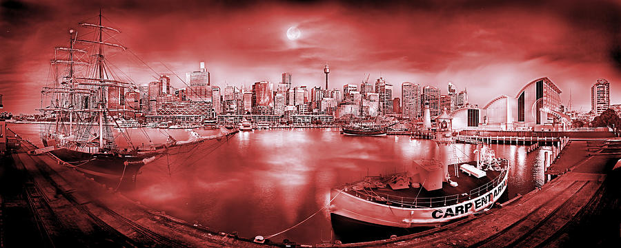 Sydney Photograph - Misty Morning Harbour - Red by Az Jackson