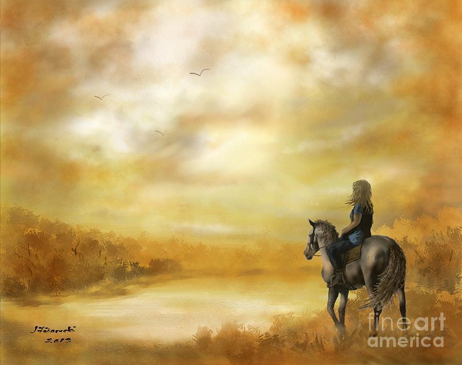 Horse Painting - Misty Morning Horseback Ride by Judy Filarecki