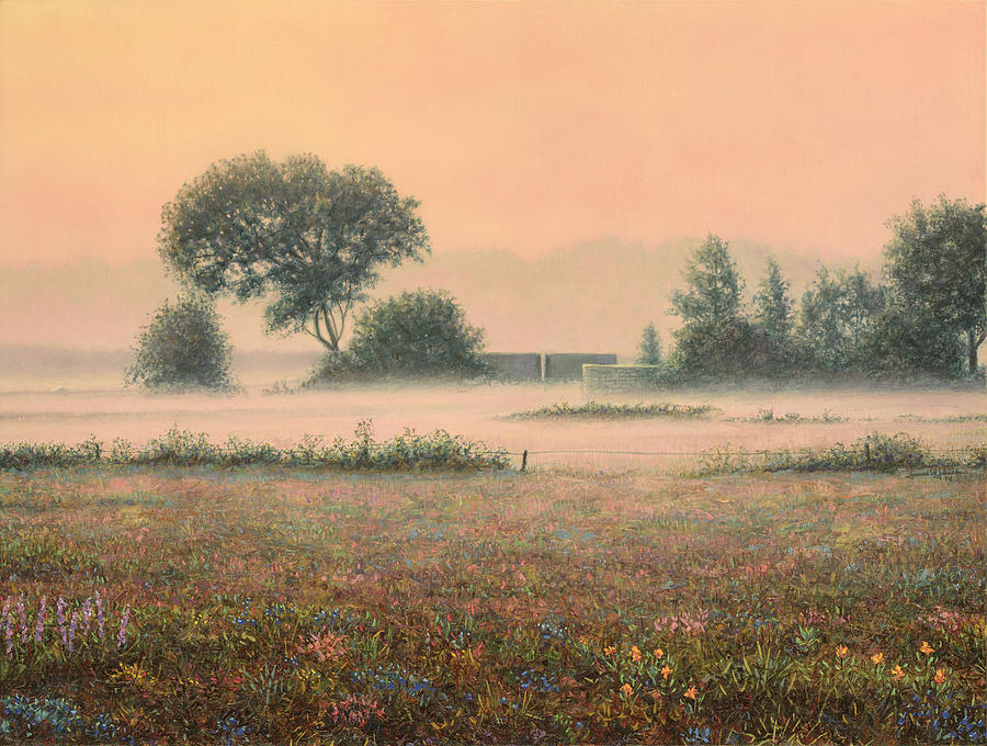 Misty Painting - Misty Morning by James W Johnson
