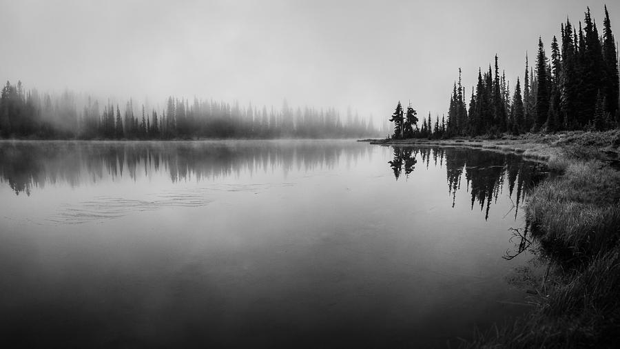 Black And White Photograph - Misty Morning On Reflection Lake by Brian Xavier