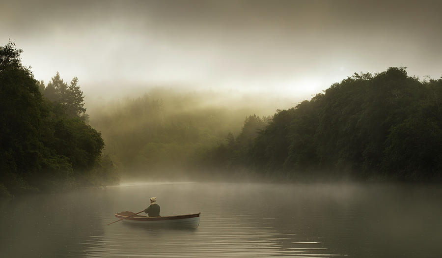 Misty Morning Row On A Forested River Photograph by Justin Lewis