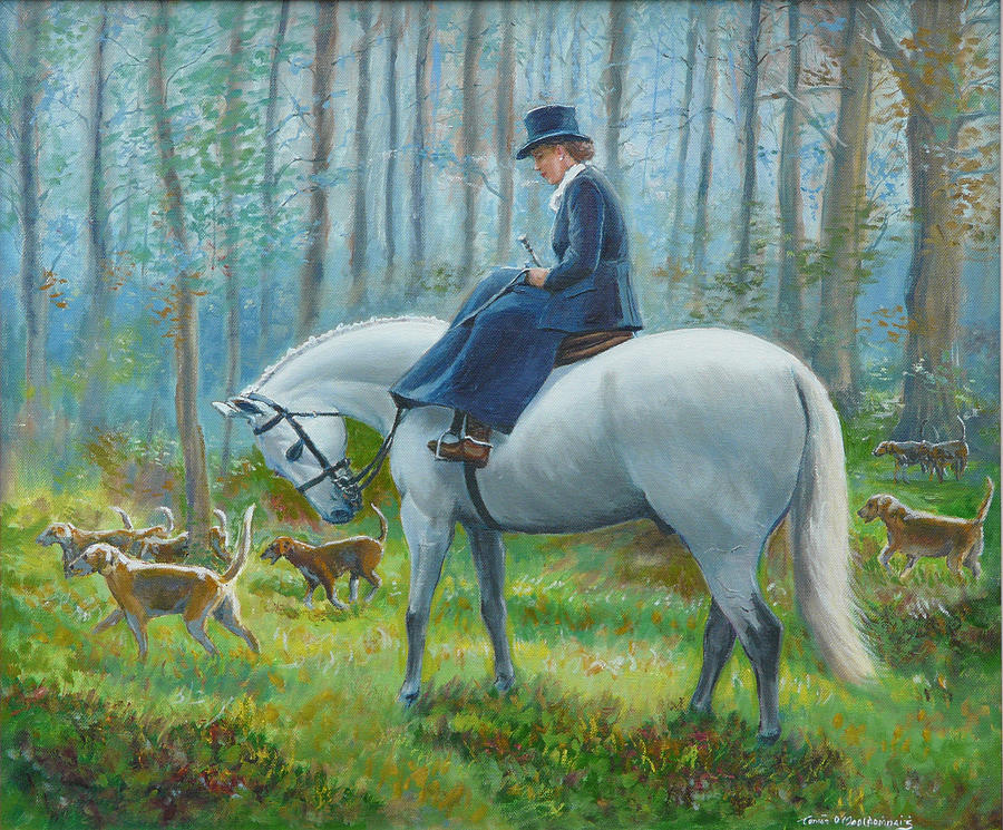 Horse Painting - Misty Morning by Tomas OMaoldomhnaigh