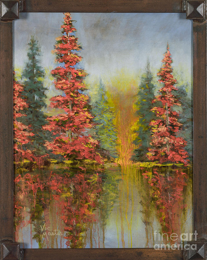 Pine Trees Painting - Misty Reflection by Vic  Mastis
