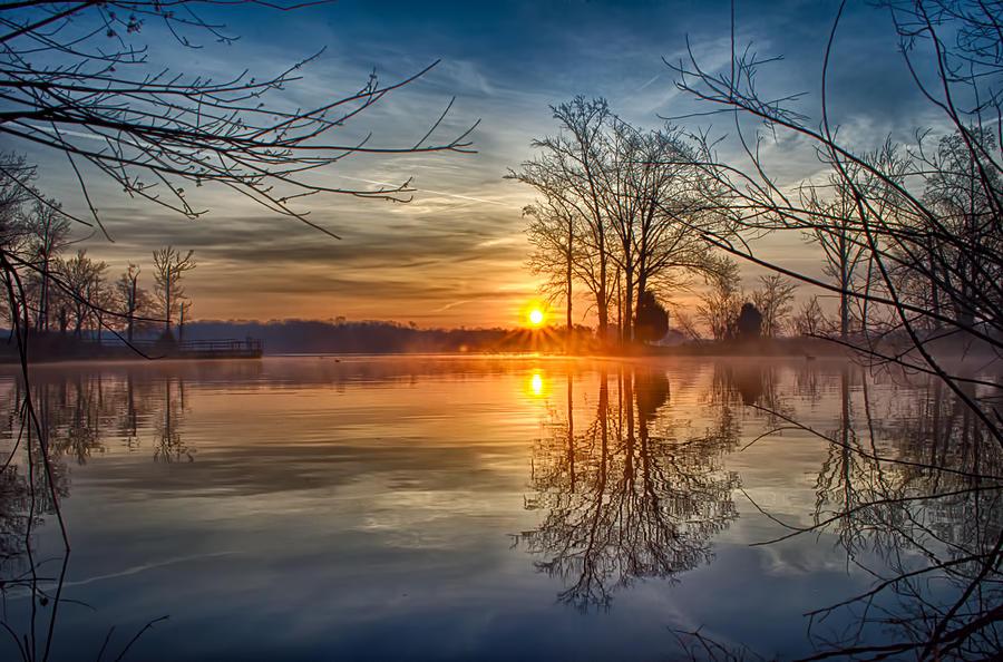 Sunrise Photograph - Misty Sunrise by Dan Holland