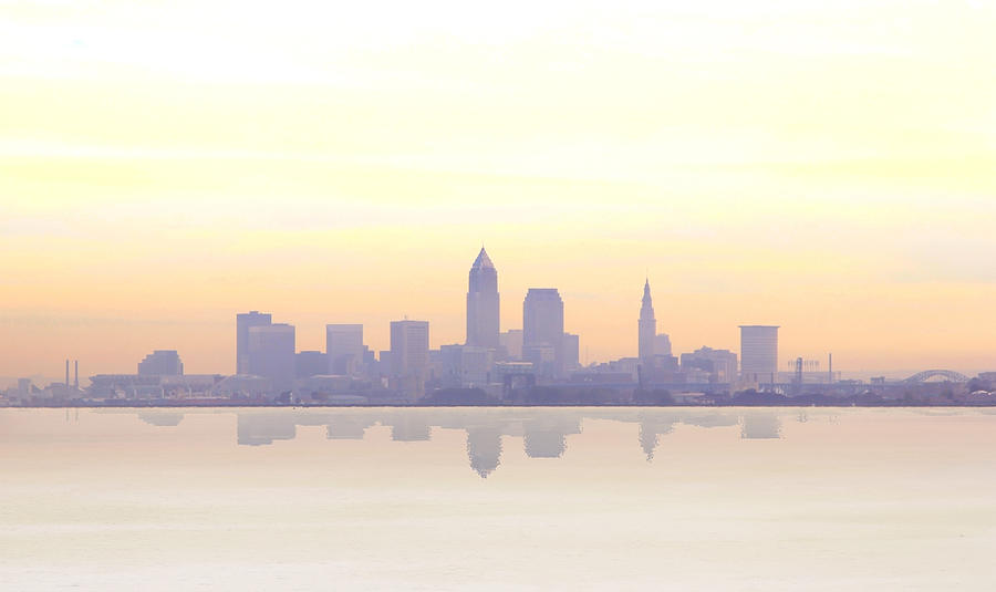 Cleveland Photograph - Misty Sunrise In Cleveland by Kitty Ellis