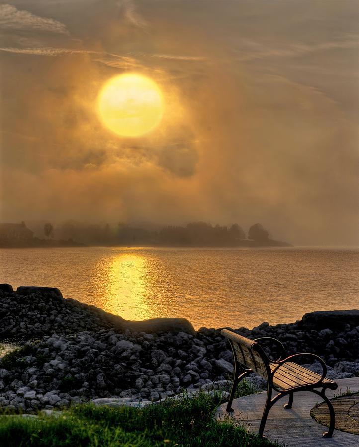 Mist Digital Art - Misty Sunset at the Bay by Jeff S PhotoArt