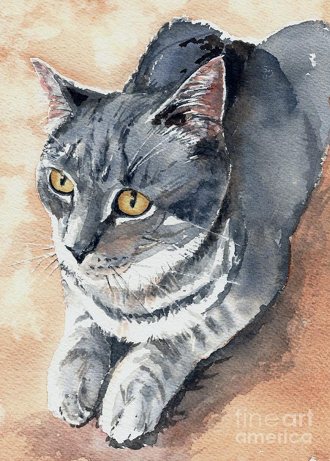 Watercolor Painting - Misty Taking Over My Desk by Lynn Babineau