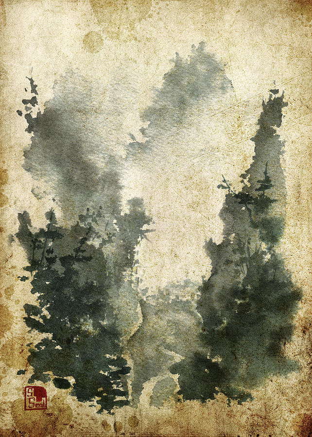 Chinese Landscape Painting - Misty Valley Altered by Sean Seal