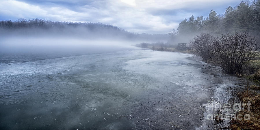 Fog Photograph - Misty Winter Morning On Lake by Thomas R Fletcher