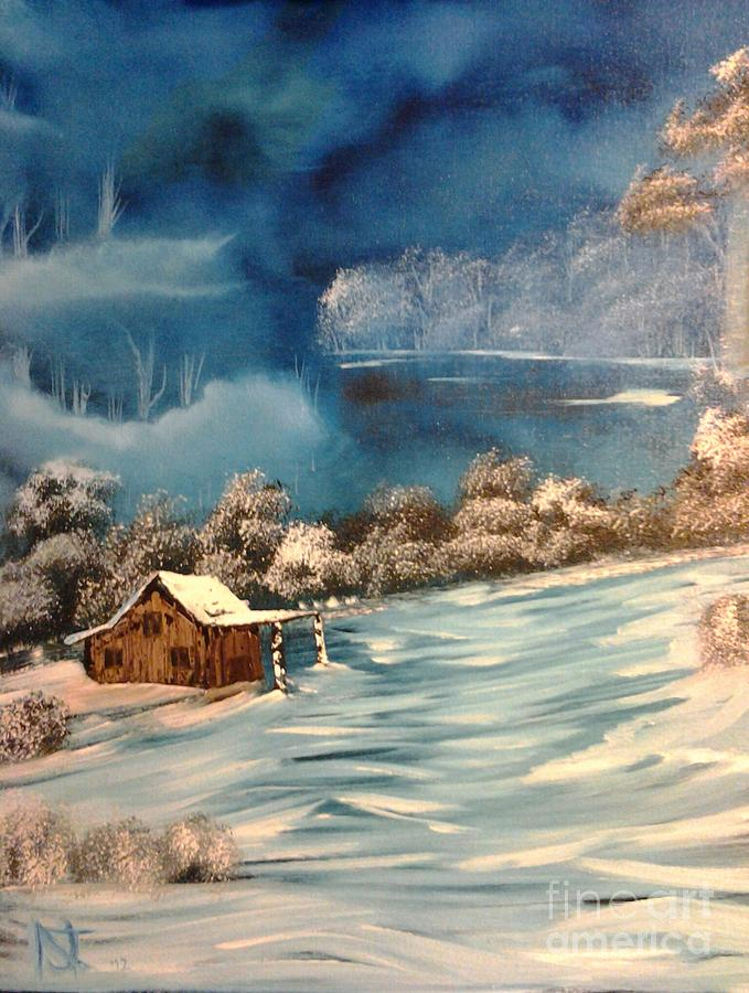Bob Ross Technique Painting - Misty Winter by Nick