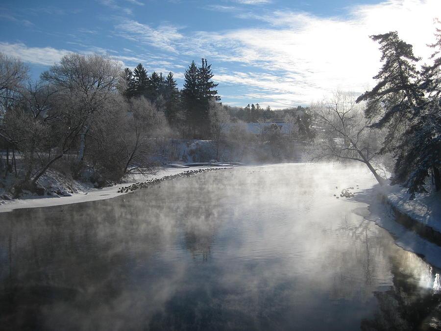 Ducks Photograph - Misty Winter River by Carolyn Reinhart