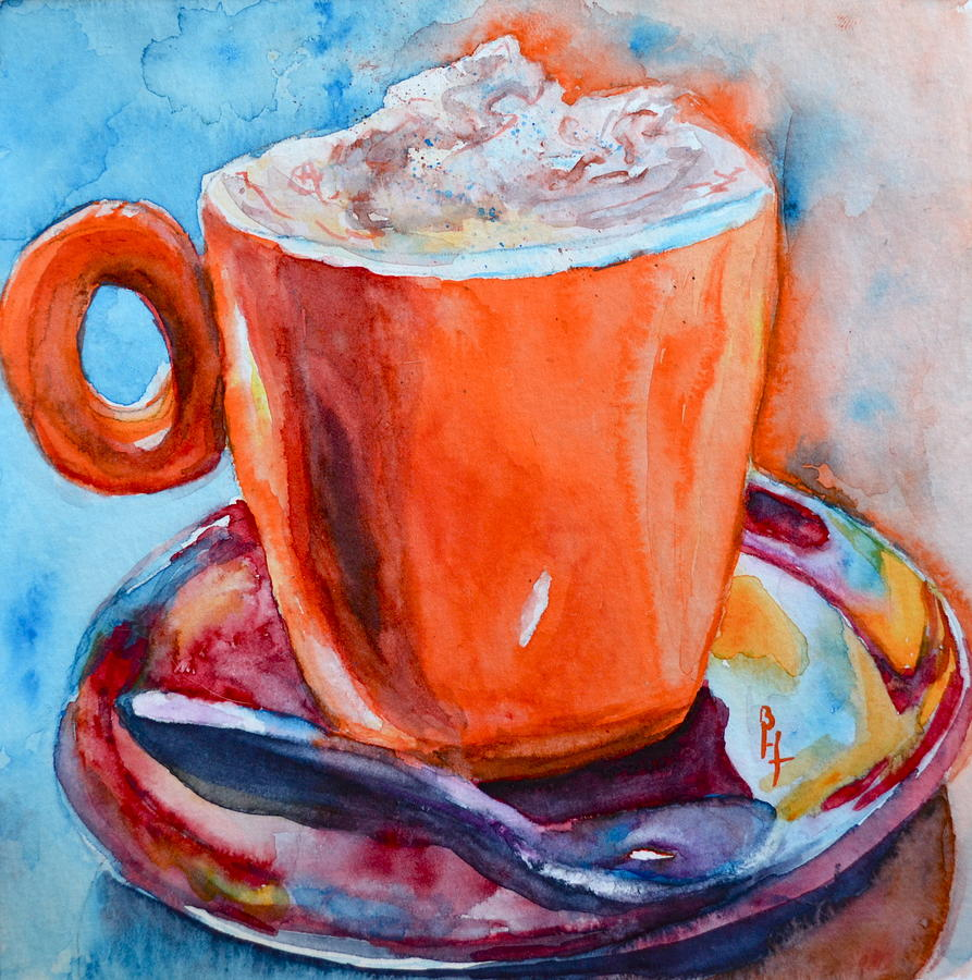 Cup Painting - Mit Schlagobers Bitte by Beverley Harper Tinsley