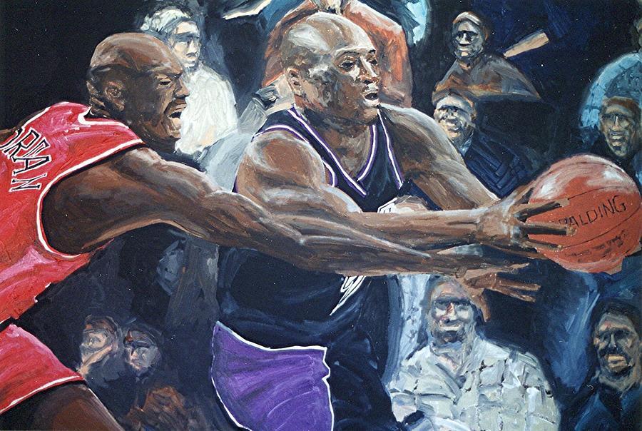 Sacramento Painting - Mitch Richmond And Michael Jordan by Paul Guyer