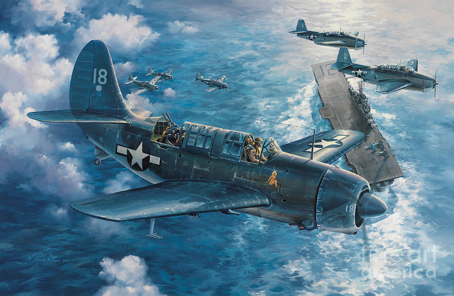 Prints Painting - Mitschers Hunt For The Rising Sun by Randy Green