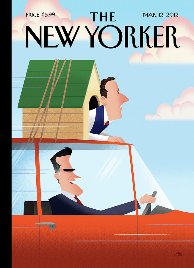 Mitt Romney Driving With Rick Santorum In A Dog Painting by Bob Staake