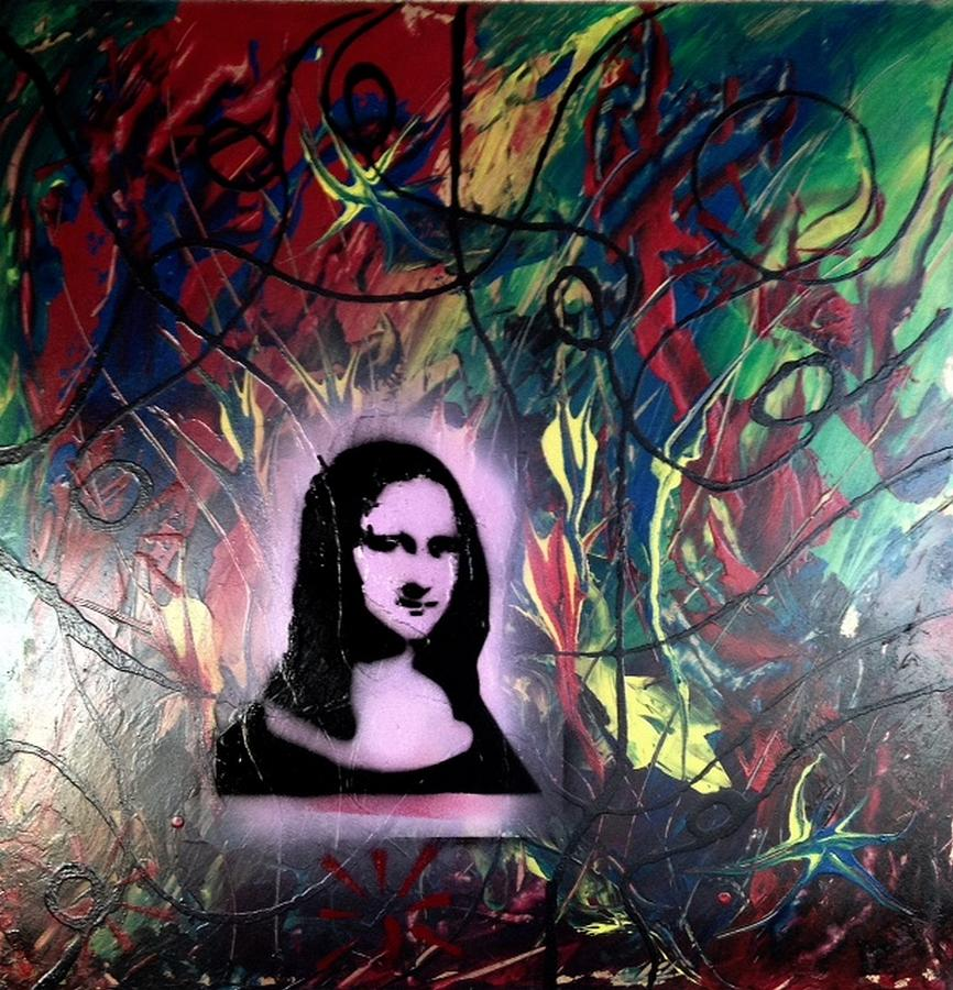 Andy Warhol Painting - Mixed Media Abstract Post Modern Art By Alfredo Garcia Mona Lisa 2 by Alfredo Garcia