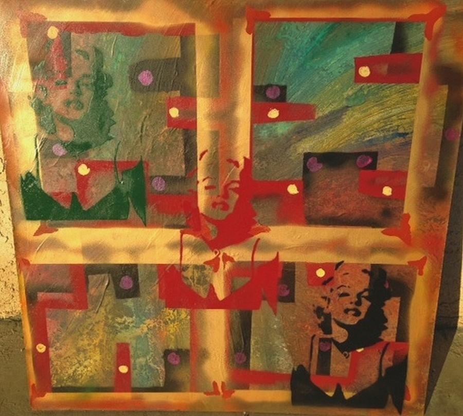Andy Warhol Painting - Mixed Media Abstract Post Modern Art By Alfredo Garcia The Blond Bombshell 3 by Alfredo Garcia