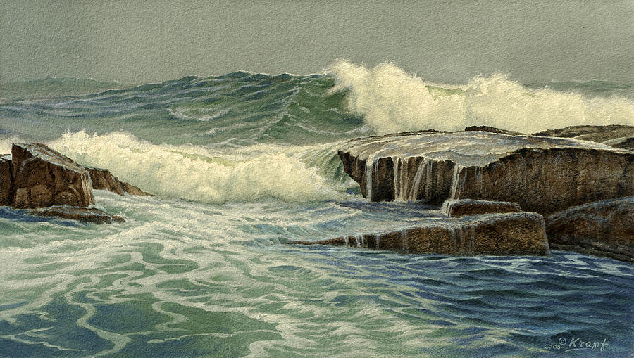 Seascape Painting - Mixed Media Seascape by Paul Krapf