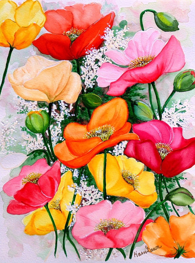 Poppies Painting - Mixed Poppies by Karin  Dawn Kelshall- Best