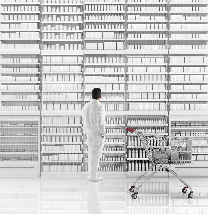 Internet Photograph - Mixed Race Man Shopping On White by Colin Anderson Productions Pty Ltd