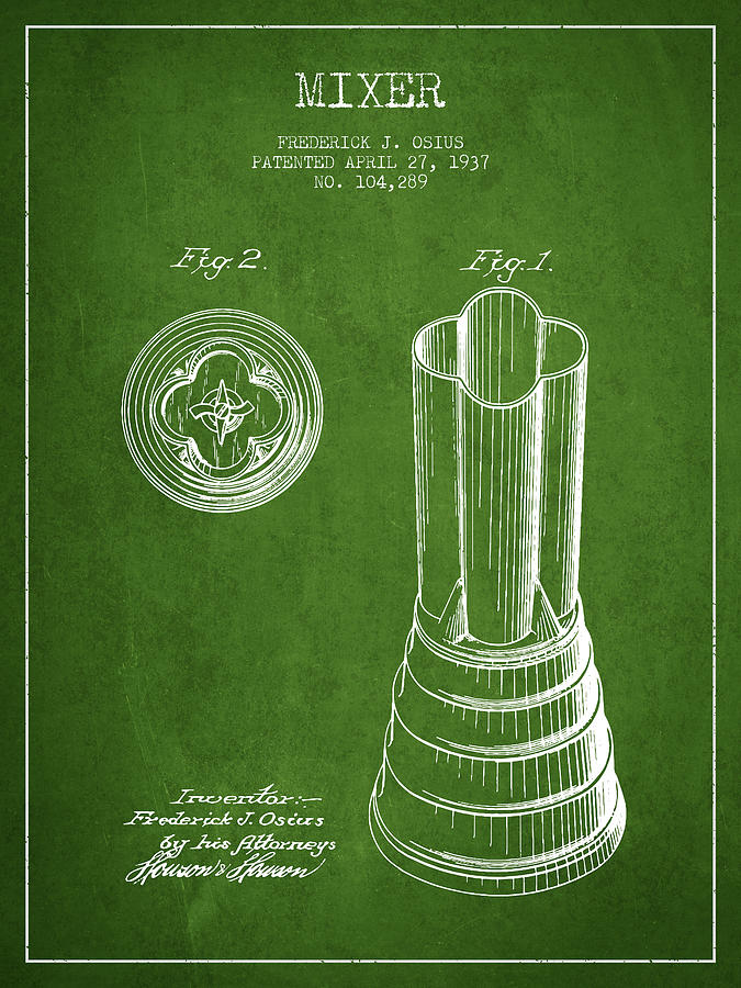 Mixer Patent From 1937 - Green Digital Art