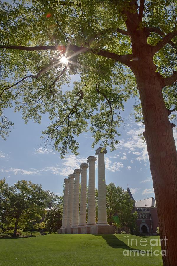 Mizzou Photograph - Mizzou Columns Sunflare by Kay Pickens